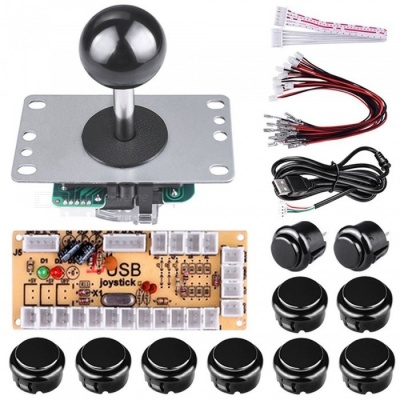 DIY Arcade Game Button and Joystick Controller Kit for Rapsberry Pi and Windows - Black