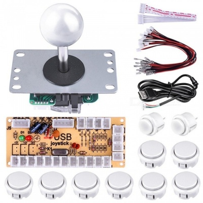 DIY Arcade Game Button and Joystick Controller Kit for Rapsberry Pi and Windows - White