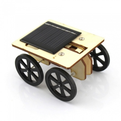 Creative No.2 DIY Wooden Solor Powered Small Car Toy for Kids Children