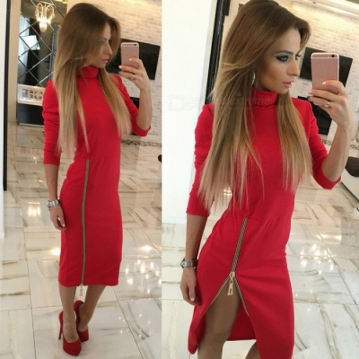 Stylish High Collar Slim Long Sleeves Zipper Sexy Split Dress for Women Ladies - Red (XL)