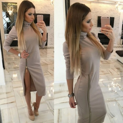 Stylish High Collar Slim Long Sleeves Zipper Sexy Split Dress for Women Ladies - Khaki (M)