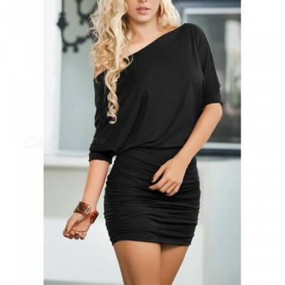 Sexy Fashion Stylish Off Shoulder Package Hip Dress - Black