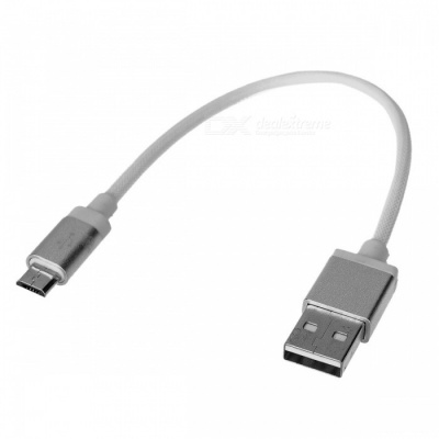 Cwxuan USB 2.0 to Micro USB Braided Data Sync & Charging Cable for Samsung Huawei Android Micro USB Phone -Silver White (20cm)