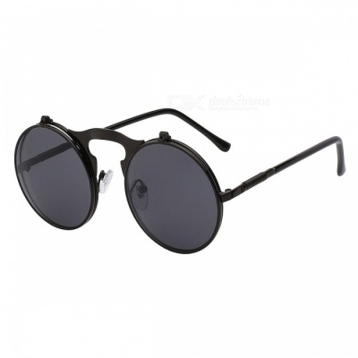 Flip Up Steampunk Sunglasses UV 400 Protection Round Shaped Vintage Sunglass Fashion Cool Stylish Sunglasses Black