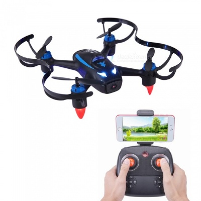 F18W 2.4GHz 4CH 6-Axis Wi-Fi FPV RC Helicopter Drone Quadcopter with 0.3MP Camera - Black