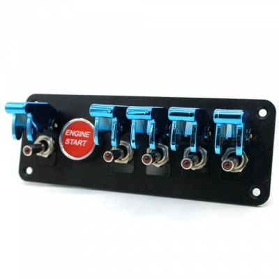 IZTOSS S2787-Z 40A-12V 6-Group Ignition Switch Panel with Relay + Socket for Racing Car - Blue