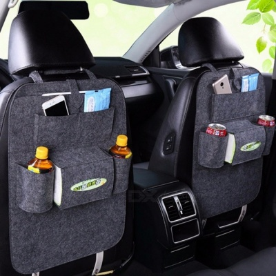 Auto Car Backseat Organizer Bag Holder Felt Covers Versatile Multi-Pocket Seat Hanging Box Wool Felt Storage Container dark grey