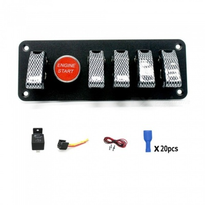 IZTOSS S2787-Z 40A-12V 6-Group Ignition Switch Panel with Relay + Socket for Racing Car - Silver