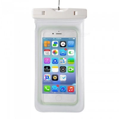 IPX8 Waterproof PVC ABS Bag Pouch with Arm Band for IPHONE X / IPHONE 6 PLUS / 6S PLUS / 7 PLUS / 8 PLUS - White