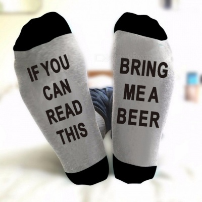 East Knitting ST09 Unisex IF YOU CAN READ THIS BRING ME A BEER Fashion Socks Cotton Christmas Socks Funny Socks Gray + Black
