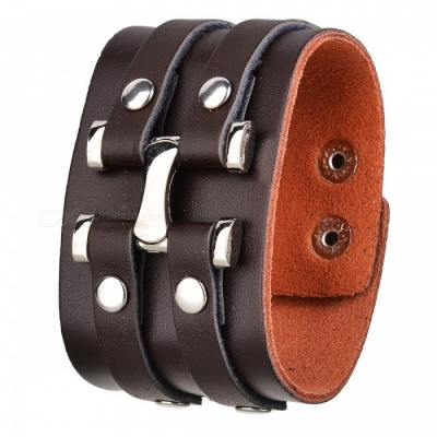 Cool Personalized Punk Style PU Leather Metal Wristband Bracelet for Men, Women - Brown