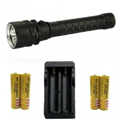 ZHAOYAO T6 3-LED Bright Light Waterproof Diving Flashlight with US Charger + 4Pcs 18650 Batteries