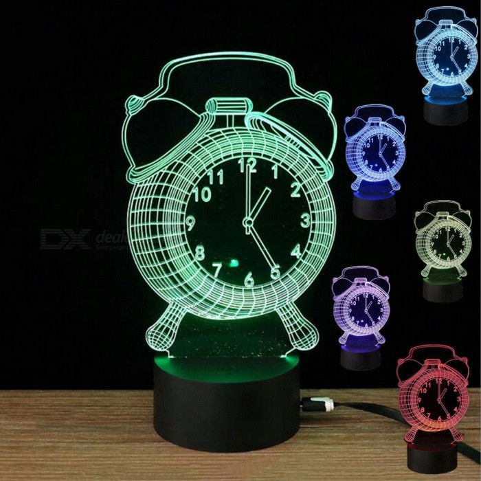 Mini Rechargeable 3D Alarm Clock Pattern Illusion Lamp, Optical LED Night Light, Desk Table Lamp - Multicolorr