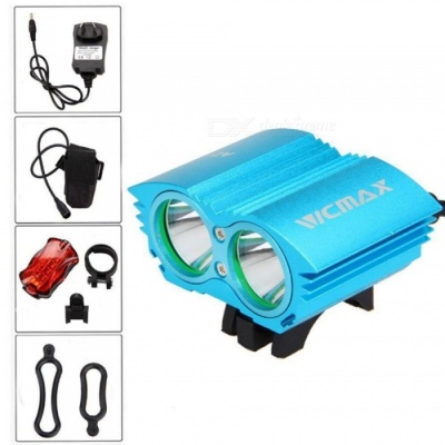 A21 Portable Dual T6 Head USB Rechargeable 4-Mode Bicycle Light Headlight for Outdoor Night Riding - Blue