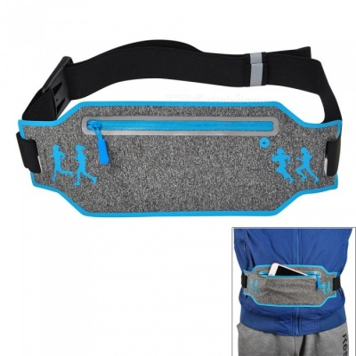 Multifunctional Waterproof Outdoor Sports Running Mobile Phone Lycra Waist Bag with Adjustable Strap - Grey