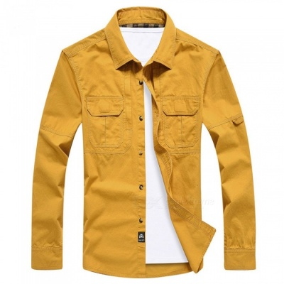 99603 Men's Outdoor Lapel Shirt Cotton Long-Sleeved Shirt Clothing Clothes - Ginger (2XL)