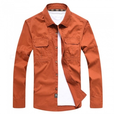 99603 Men's Outdoor Lapel Shirt Cotton Long-Sleeved Shirt Clothing Clothes - Orange Red (L)