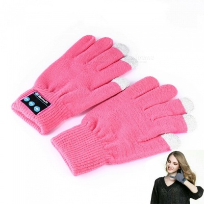 Flexible Retractable Bluetooth V4.2 + EDR Touch Screen Gloves with Mic, Supports Phone Call - Pink