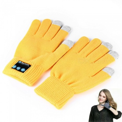 Flexible Retractable Bluetooth V4.2 + EDR Touch Screen Gloves with Mic, Supports Phone Call - Yellow