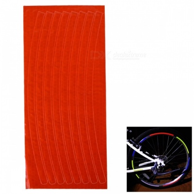 Bicycle Decorative Cool Reflective Stickers Bike Wheel Sticker for 26 Inches Mountain Bike - Orange Red