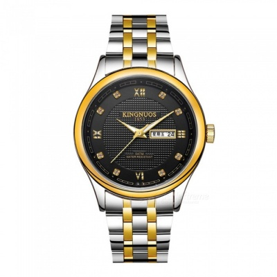 KINGNUOS Stainless Steel Band Men's Business Quartz Wrist Watch w/ Week, Calendar - Silver + Gold + Black