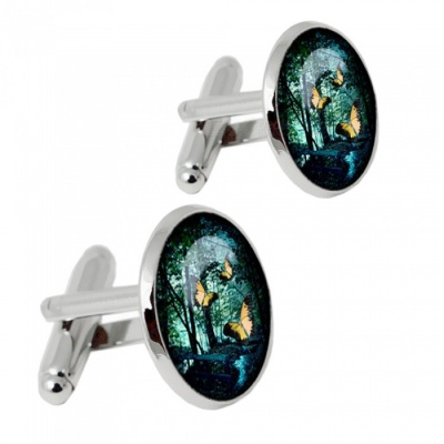 Premium Alloy Butterfly Design Men's Cufflinks - Silver + Multicolor (1 Pair)