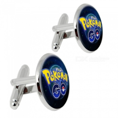 Premium Alloy Elf Pattern Men's Cufflinks - Silver + Multicolor (1 Pair)