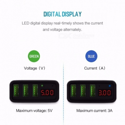ROCK Universal Mobile Phone USB Charger Fast Charge Wall Charger with 3 USB Ports LED Display for IPHONE Samsung Xiaomi Max 2.4A US /Black