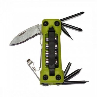 OJADE 17-in-1 Outdoor Multifunctional Metal Folding Screwdriver Set, Opener Kit for Camping Bicycle