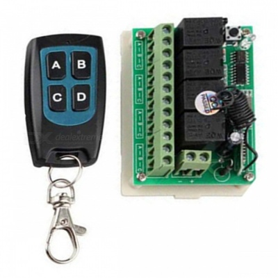 12V 433MHZ Remote Control Switch Receiver with Mini Waterproof Ultra-Thin 4-Key Transimitter