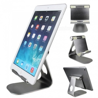 Universal Stylish Aluminum Alloy Adjustable Holder Bracket Support for Tablet PC Cell Phone - Grey