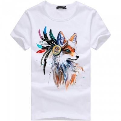 3D Fox Pattern Fashion Personality Casual Cotton Short-Sleeved Men's T-Shirt - White (L)