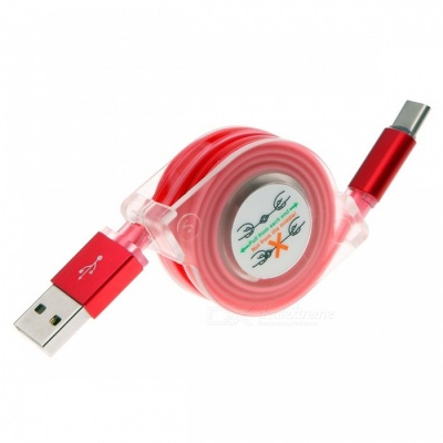 Retractable USB 3.1 Type-C Fast Charge Charging Data Cable with LED Light - Red (1M)