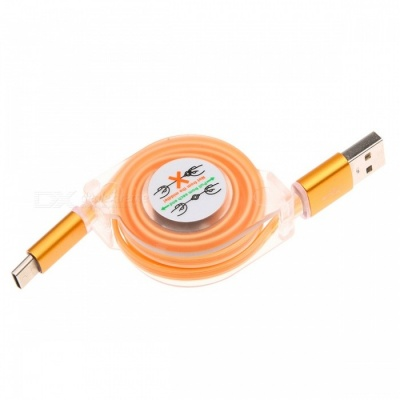 Retractable USB 3.1 Type-C Fast Charge Charging Data Cable with LED Light - Orange (1M)