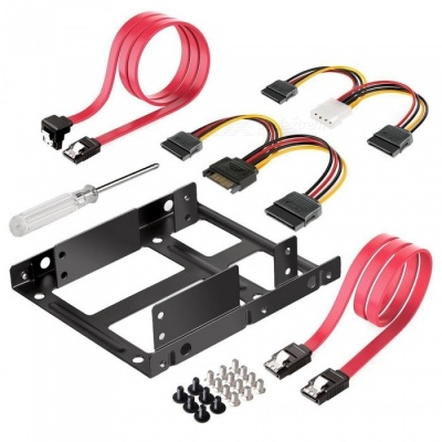 """Qook Inateck ST1002S 2""""x2.5"""" SSD to 3.5"""" Internal Hard Disk Drive Mounting Kit Bracket (SATA Data and Power Cables included)"""