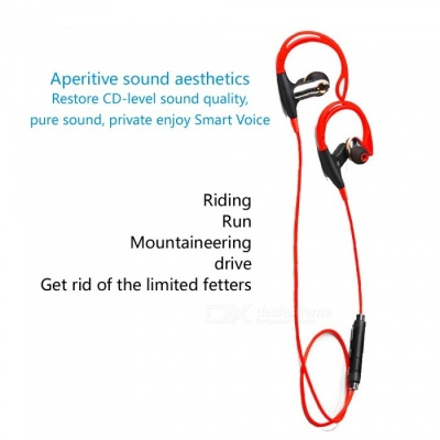 Sports Wireless Bluetooth V4.0 Earhook Style Earphones Running Waterproof  Headset - Red + Black
