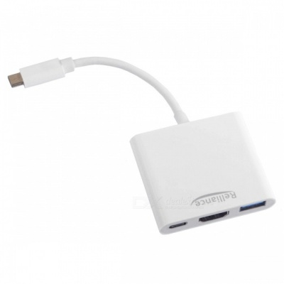 Relliance 4Kx2K Type-C to HDMI / USB 3.0 / Charging USB-C 3.1 Adapter for Type-C Computer
