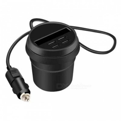 Car Cigarette Lighter Plug Cup Style Car Charger with Four USB Ports for IPHONE Samsung Xiaomi Huawei - Black