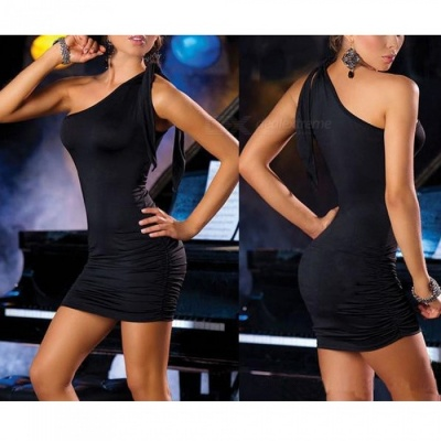 Sexy One-Shoulder Package Hip Dress Sexy Dress for Dance Club - Black
