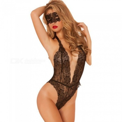 Sexy Lace Deep V Bodysuit Backless Bikini Style Teddies Sexy Lingeries with Eye Mask Shade - Black