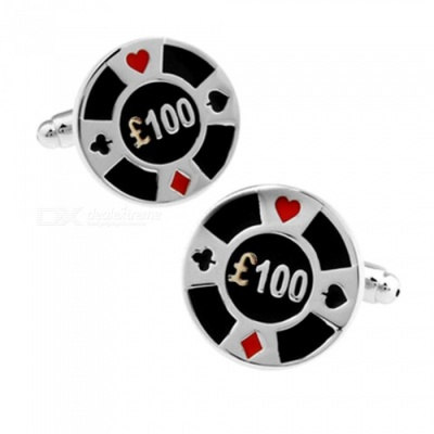 Brass Gambling Chips 100 Euro Pattern Men's Cufflinks - Silver + Multicolor (1 Pair)