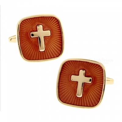 Brass Real Gold Plating Jesus Cross Pattern Men's High-end Fashion Cufflinks - Golden + Brown (1 Pair)