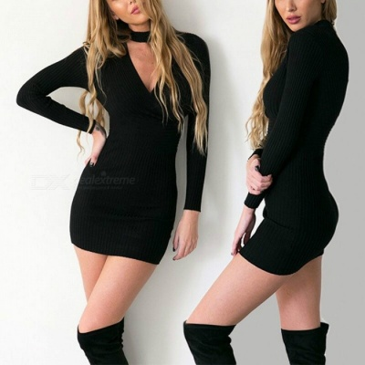 Sexy V-Neck Long Sleeves Dress Sexy Package Hip Boutique Nightclub Ladies Dress - Black (S)