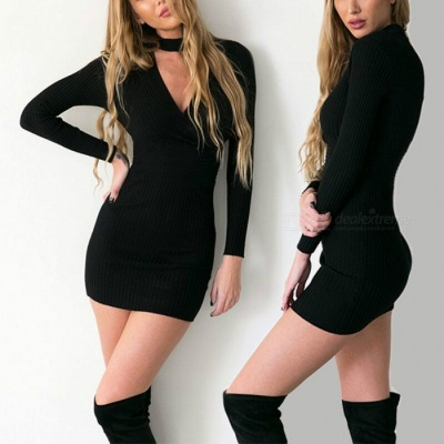 Sexy V-Neck Long Sleeves Dress Sexy Package Hip Boutique Nightclub Ladies Dress - Black (L)
