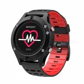 NO.1 F5 Outdoor Sports OLED Color Screen Smart Watch Altimeter with GPS Real Time Heart Rate Monitoring - Black + Red