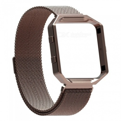 Miimall Fitbit Blaze Accessories Band, Milanese Stainless Steel Bracelet Strap Band with Frame Housing for Fitbit Blaze - Coffee