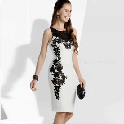 Women's Stylish Sleeveless Lace Dress Elegance and Simplicity - White + Black (L)