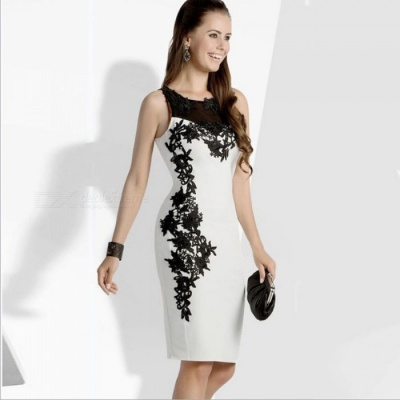 Women's Stylish Sleeveless Lace Dress Elegance and Simplicity - White + Black (M)