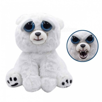 Mischievous Adorable Cute Angry Face Changing Plush Doll Toy Gift for Children - White