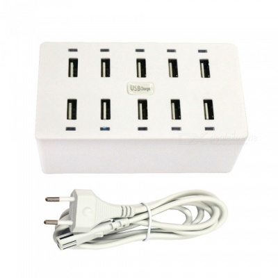 50W 10-Port USB AC 100-240V 10A USB Smart Charging Power Strip - EU Plug